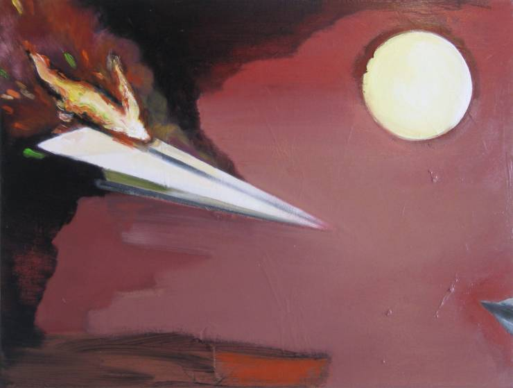 painting acrylic canvas origami paper airplane red explosion expressive drama sun flames ikaros dream airplane marck fink