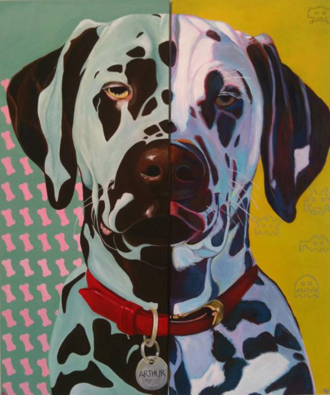 Dog, Dogs, pop-art, bright colors, yellow, white, patterns, graphic design