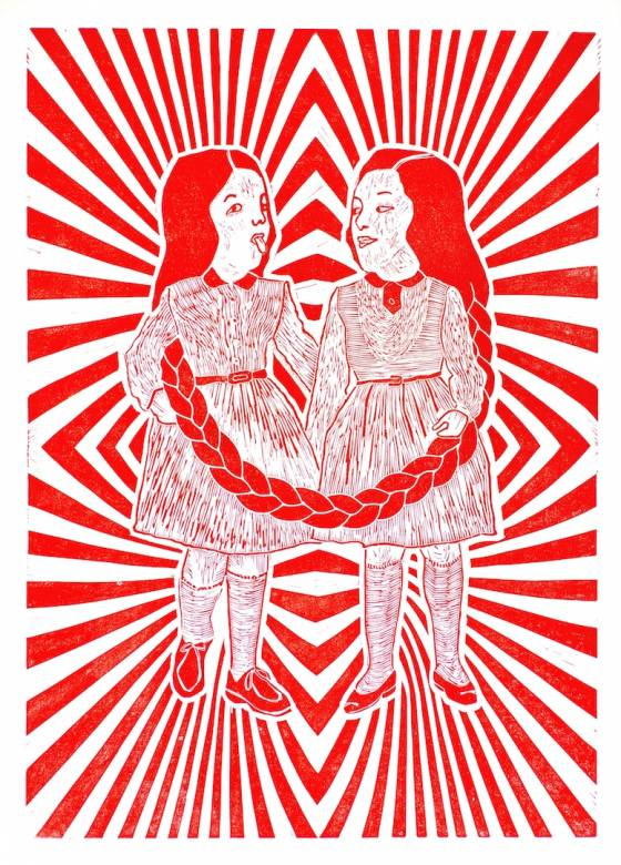 art-prints, linocuts, figurative, graphical, pop, portraiture, children, humor, moods, patterns, red, white, ink, paper, abstract-forms, amusing, copenhagen, danish, decorative, design, girls, interior, interior-design, love, nordic, romantic, scandinavien, Buy original high quality art. Paintings, drawings, limited edition prints & posters by talented artists.