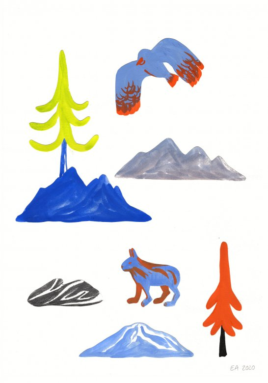 gouache-painting, colorful, figurative, illustrative, landscape, minimalistic, animals, botany, nature, sky, wildlife, blue, green, grey, orange, gouache, ink, paper, beautiful, birds, danish, design, forest, interior, interior-design, modern, modern-art, mountains, nordic, posters, prints, scandinavien, Buy original high quality art. Paintings, drawings, limited edition prints & posters by talented artists.