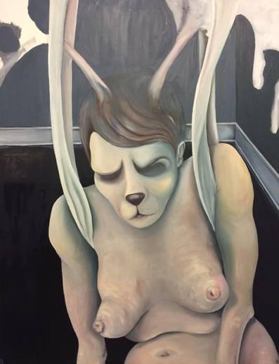 modern art interior design table held naked woman straitjacket