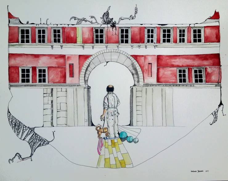 drawings, figurative, geometric, portraiture, architecture, bodies, black, red, white, yellow, paper, marker, watercolor, architectural, buildings, men, Buy original high quality art. Paintings, drawings, limited edition prints & posters by talented artists.