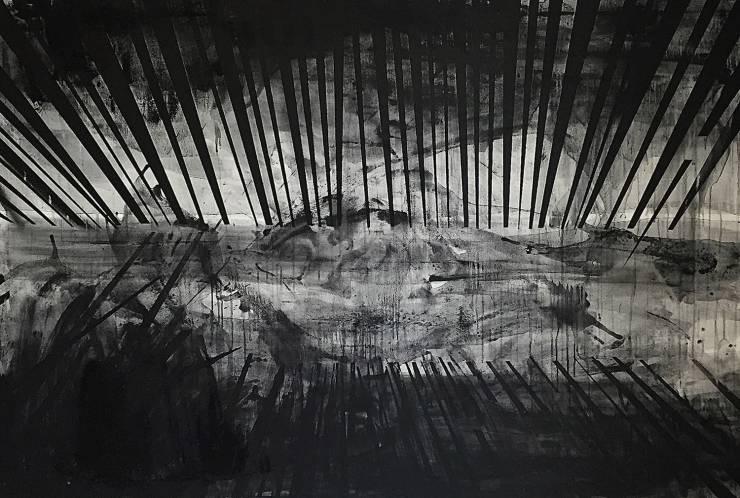 Black white paintings Danish galleries powerful excellent art minimalist tunnel, best Danish artists