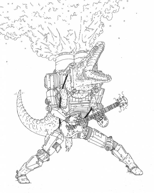guitar, crocodile, smoke, illustrations and drawings, art, art gallery, gallery, funny drawing, street art, pop culture, inspiration,
