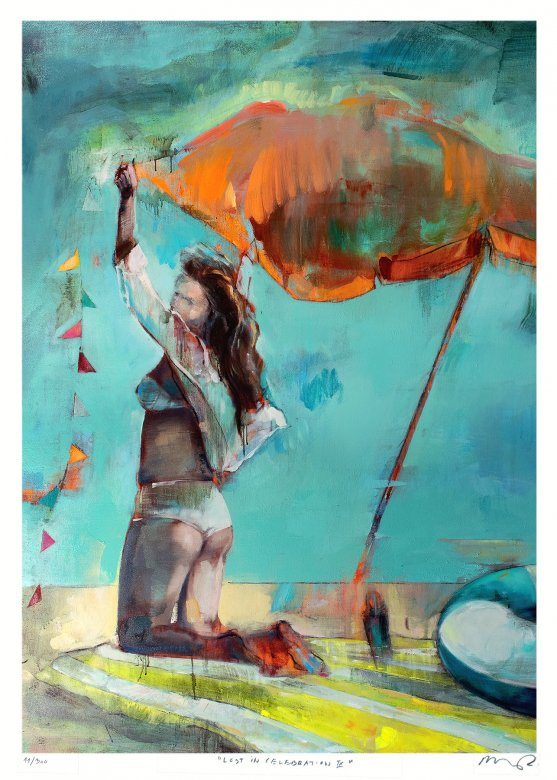 posters-prints, giclee-print, aesthetic, colorful, figurative, graphical, landscape, portraiture, bodies, nature, oceans, people, sky, blue, green, orange, red, turquoise, yellow, ink, paper, beach, beautiful, danish, female, interior, interior-design, nordic, posters, pretty, scandinavien, summer, women, Buy original high quality art. Paintings, drawings, limited edition prints & posters by talented artists.