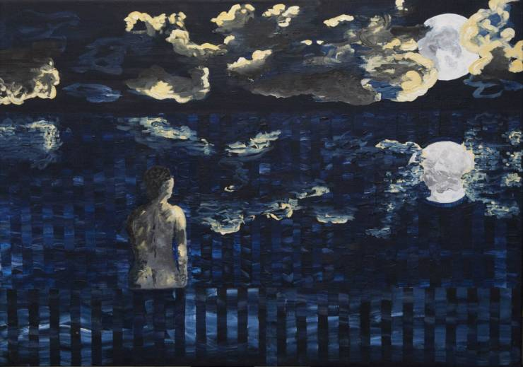 full moon night sea - gallery art painting modern blue