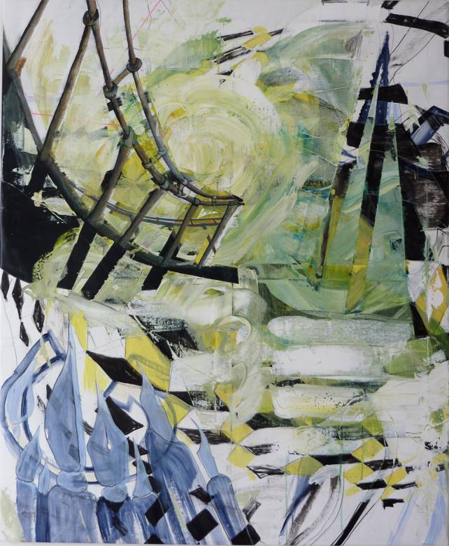 paintings, abstract, aesthetic, movement, blue, green, white, acrylic, cotton-canvas, abstract-forms, atmosphere, buildings, expressionism, Buy original high quality art. Paintings, drawings, limited edition prints & posters by talented artists.