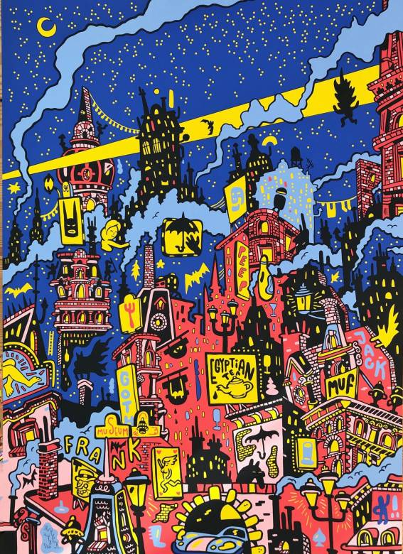 art-prints, serigraphs, colorful, expressive, family-friendly, figurative, graphical, illustrative, pop, architecture, black, blue, pink, red, yellow, acrylic, amusing, architectural, buildings, business, cars, cities, danish, decorative, design, interior, interior-design, nordic, posters, prints, scandinavien, urban, Buy original high quality art. Paintings, drawings, limited edition prints & posters by talented artists.