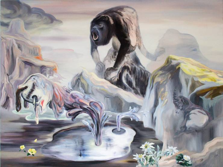 surreal painting colorful wildlife mountains