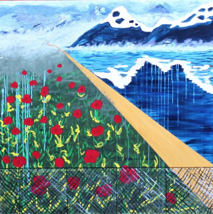paintings, aesthetic, colorful, figurative, landscape, botany, nature, sky, blue, red, yellow, acrylic, cotton-canvas, atmosphere, contemporary-art, copenhagen, danish, design, interior, interior-design, modern, modern-art, mountains, nordic, plants, scandinavien, scenery, vivid, Buy original high quality art. Paintings, drawings, limited edition prints & posters by talented artists.