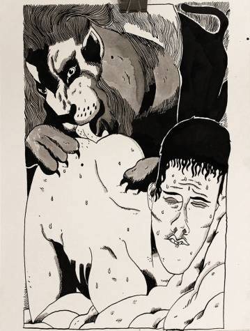 drawings, animal, figurative, illustrative, portraiture, surrealistic, bodies, sexuality, wildlife, black, grey, white, artliner, paper, marker, erotic, expressionism, men, sexual, wild-animals, Buy original high quality art. Paintings, drawings, limited edition prints & posters by talented artists.