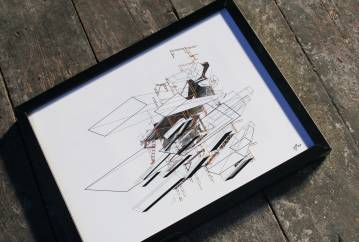art-prints, photographs, new-media, geometric, graphical, architecture, black, grey, orange, white, ink, paper, abstract-forms, architectural, buildings, design, interior, interior-design, Buy original high quality art. Paintings, drawings, limited edition prints & posters by talented artists.