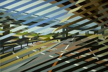 paintings, geometric, graphical, architecture, movement, patterns, transportation, black, blue, brown, green, acrylic, cotton-canvas, architectural, buildings, scenery, time, Buy original high quality art. Paintings, drawings, limited edition prints & posters by talented artists.