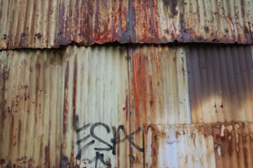Wall, iron, factory, green, brown, graffiti