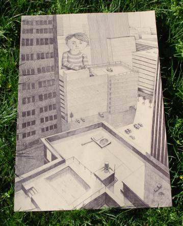 Photo drawing of a boy in the big city, houses, buildings, skyscraper, art drawings and illustrations online, talented artists, art online