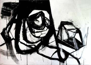 paintings, abstract, expressive, graphical, monochrome, movement, patterns, black, white, acrylic, cotton-canvas, abstract-forms, black-and-white, Buy original high quality art. Paintings, drawings, limited edition prints & posters by talented artists.