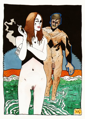 posters-prints, giclee-print, figurative, graphical, illustrative, portraiture, bodies, cartoons, people, sexuality, black, blue, brown, green, orange, ink, paper, contemporary-art, danish, decorative, design, erotic, interior, interior-design, men, modern, modern-art, nordic, nude, posters, scandinavien, sexual, sketch, Buy original high quality art. Paintings, drawings, limited edition prints & posters by talented artists.