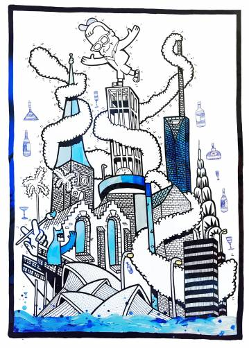 art-prints, gliceé, geometric, pop, architecture, humor, black, blue, white, ink, paper, abstract-forms, amusing, architectural, buildings, street-art, Buy original high quality art. Paintings, drawings, limited edition prints & posters by talented artists.