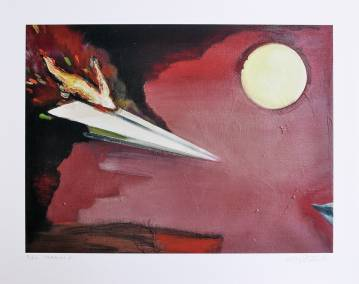 Airplane 2 The supper -  limited edition fine art print by marck fink paper plane sun red black fire