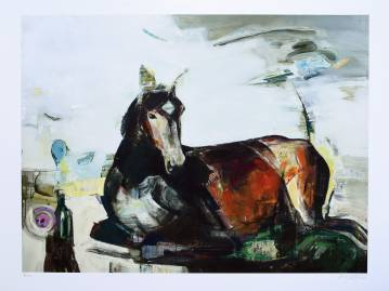 limited edition fine art print by marck fink horse woman graphics ocean sea