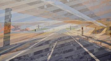 paintings, geometric, architecture, movement, patterns, transportation, beige, blue, grey, acrylic, cotton-canvas, architectural, buildings, scenery, time, Buy original high quality art. Paintings, drawings, limited edition prints & posters by talented artists.