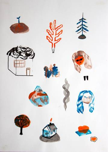 drawings, gouache, watercolors, abstract, figurative, botany, nature, black, blue, red, gouache, paper, watercolor, amusing, beautiful, danish, decorative, design, faces, houses, interior, interior-design, nordic, scandinavien, trees, Buy original high quality art. Paintings, drawings, limited edition prints & posters by talented artists.