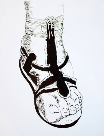 foot logo gladiator strong and expressive art illustrations and drawings, talented Danish illustrator, cartoonist