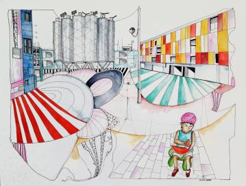 illustrations. Expressive modern art. buildings, colors, watermelon. talented artists, online art gallery.