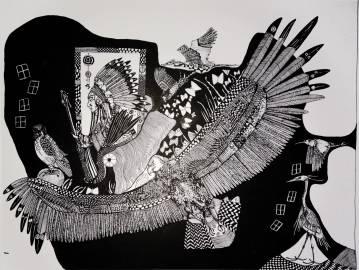 illustrations. Eagle, Indian, birds, Expressive modern art. animals. talented artists, online art gallery.