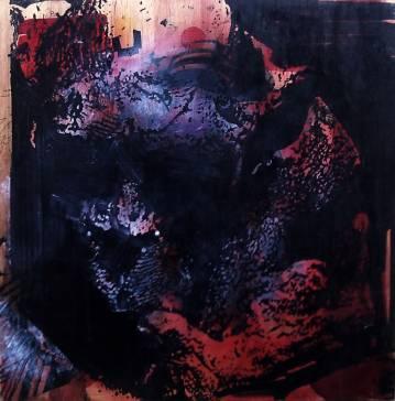 Abstrakt rødt sort gråt stort originalt maleri til din bolig fantastisk indretning