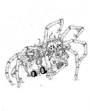 spider, bus, illustrations and drawings, art, art gallery, gallery, funny drawing, street art, pop culture, inspiration,