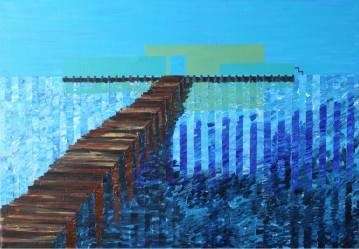 blue jetty water - gallery modern art blue bridge abstract
