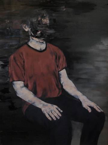 portrait of man sitting in a chair, colors red black