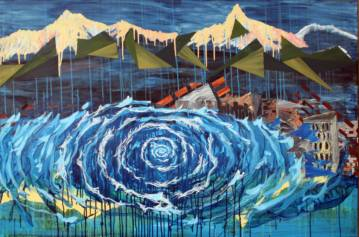 gallery art painting - waves mountains disaster