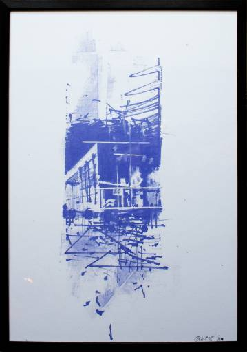 art-prints, gliceé, expressive, geometric, architecture, blue, white, ink, paper, abstract-forms, architectural, buildings, expressionism, Buy original high quality art. Paintings, drawings, limited edition prints & posters by talented artists.