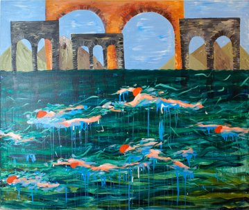 paintings, colorful, expressive, figurative, landscape, architecture, nature, blue, green, orange, acrylic, flax-canvas, buildings, expressionism, scenery, time, vivid, Buy original high quality art. Paintings, drawings, limited edition prints & posters by talented artists.