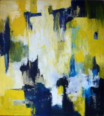 Large abstract painting bold colors yellow, blue, white, modern paintings, decor