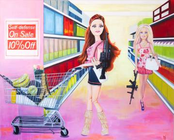 paintings, colorful, figurative, pop, still-life, funny, living, portraiture, blue, neon, pink, acrylic, canvas, amusing, food, pop-art, vivid