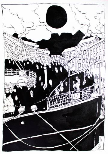 boat travel immigrants black sun strong and expressive art illustrations and drawings, talented Danish illustrator, cartoonist, black and white drawings