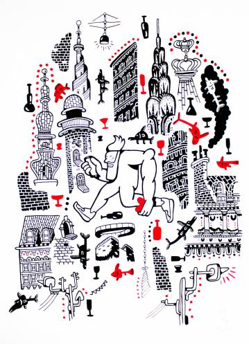 art-prints, gliceé, figurative, portraiture, architecture, humor, oceans, pets, black, red, white, ink, paper, amusing, buildings, fish, Buy original high quality art. Paintings, drawings, limited edition prints & posters by talented artists.