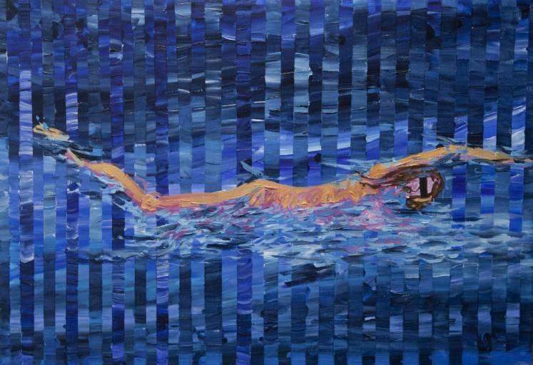 swimmer blindfolded - gallery modern art blue bridge abstract