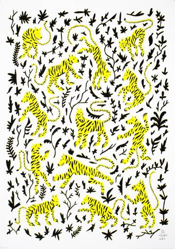 art-prints, serigraphs, animal, family-friendly, graphical, botany, humor, patterns, wildlife, black, white, yellow, ink, paper, amusing, cats, decorative, design, flowers, interior, interior-design, wild-animals, Buy original high quality art. Paintings, drawings, limited edition prints & posters by talented artists.