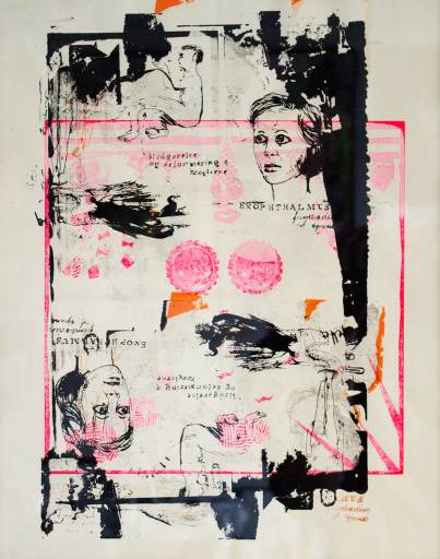 art-prints, serigraphs, figurative, graphical, portraiture, people, black, pink, red, white, ink, paper, decorative, faces, interior, interior-design, Buy original high quality art. Paintings, drawings, limited edition prints & posters by talented artists.
