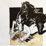 sex fuck horse dick behind black strong and expressive art illustrations and drawings, talented Danish illustrator, cartoonist, faverige