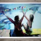 posters-prints, giclee-print, colorful, geometric, graphical, pop, portraiture, bodies, oceans, people, blue, turquoise, yellow, ink, paper, beach, contemporary-art, danish, design, female, interior, interior-design, modern, modern-art, pop-art, posters, women, Buy original high quality art. Paintings, drawings, limited edition prints & posters by talented artists.
