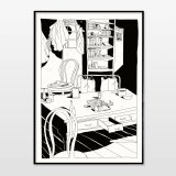 posters-prints, giclee-print, figurative, graphical, illustrative, monochrome, cartoons, everyday life, black, white, ink, paper, black-and-white, contemporary-art, danish, decorative, design, modern, modern-art, nordic, posters, prints, scandinavien, sea, time, trees, Buy original high quality art. Paintings, drawings, limited edition prints & posters by talented artists.