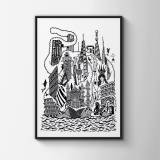 posters-prints, giclee-print, family-friendly, geometric, monochrome, architecture, humor, oceans, black, white, ink, paper, amusing, architectural, beach, black-and-white, buildings, danish, decorative, design, fish, interior, interior-design, nordic, posters, scandinavien, sea, ships, water, Buy original high quality art. Paintings, drawings, limited edition prints & posters by talented artists.