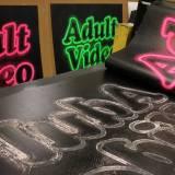 ADULT VIDEO linocut_printing process