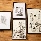 drawings, gouache, watercolors, abstract, aesthetic, family-friendly, illustrative, monochrome, botany, patterns, beige, black, white, gouache, ink, paper, watercolor, abstract-forms, beautiful, black-and-white, decorative, design, flowers, interior, interior-design, plants, Buy original high quality art. Paintings, drawings, limited edition prints & posters by talented artists.