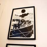 boat travel immigrants black sun strong and expressive art illustrations and drawings, talented Danish illustrator, cartoonist, faverige